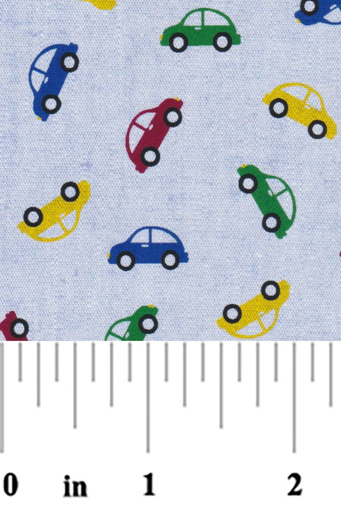 Multicolored Cars printed on Chambray