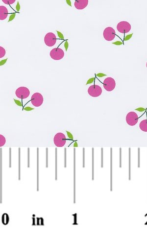 Pink Cherries on White Pique  2106
