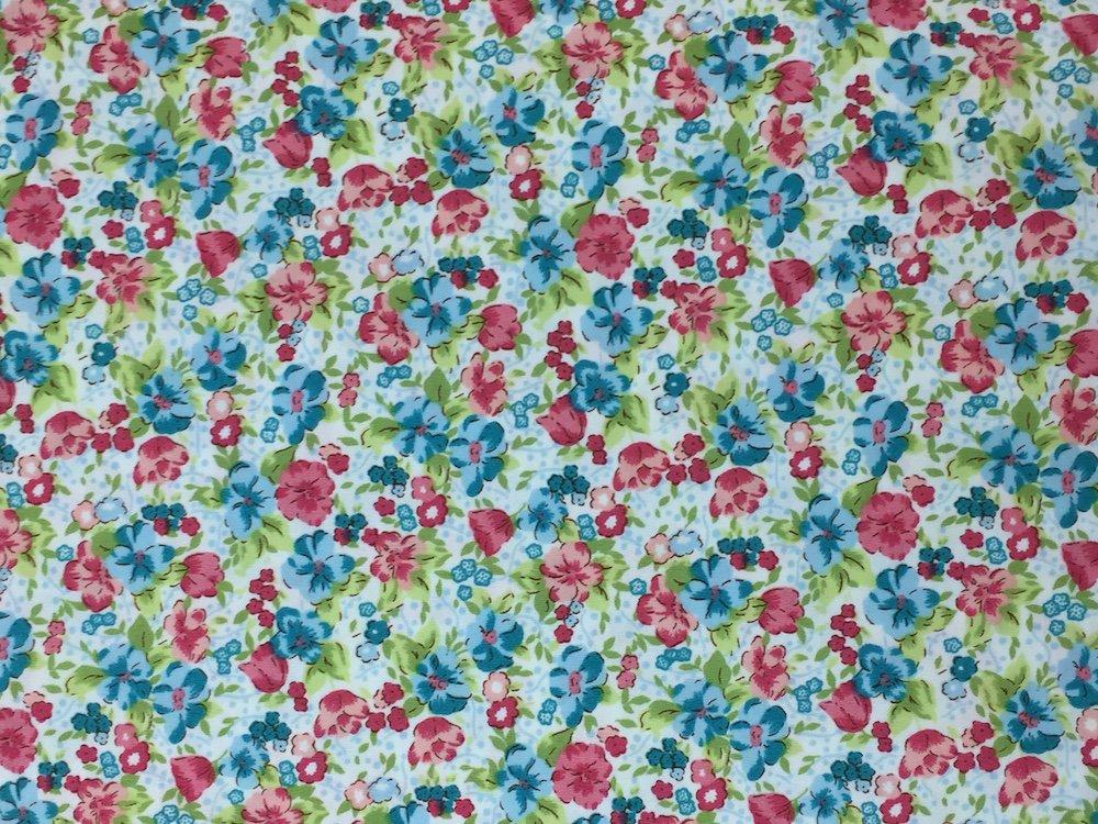 Pima Cotton Print Coral and Aqua Floral