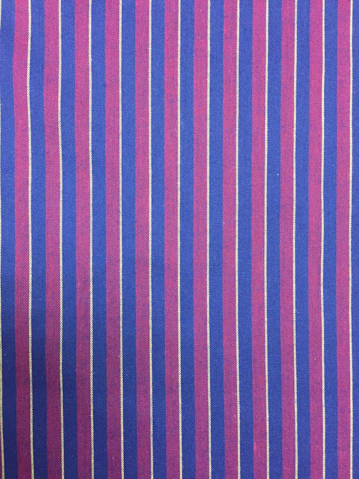 Navy and Burgundy Shirting stripe