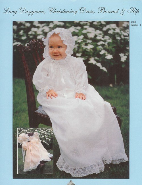 Lacy Daygown, Christening Dress, Bonnet, and Slip CW