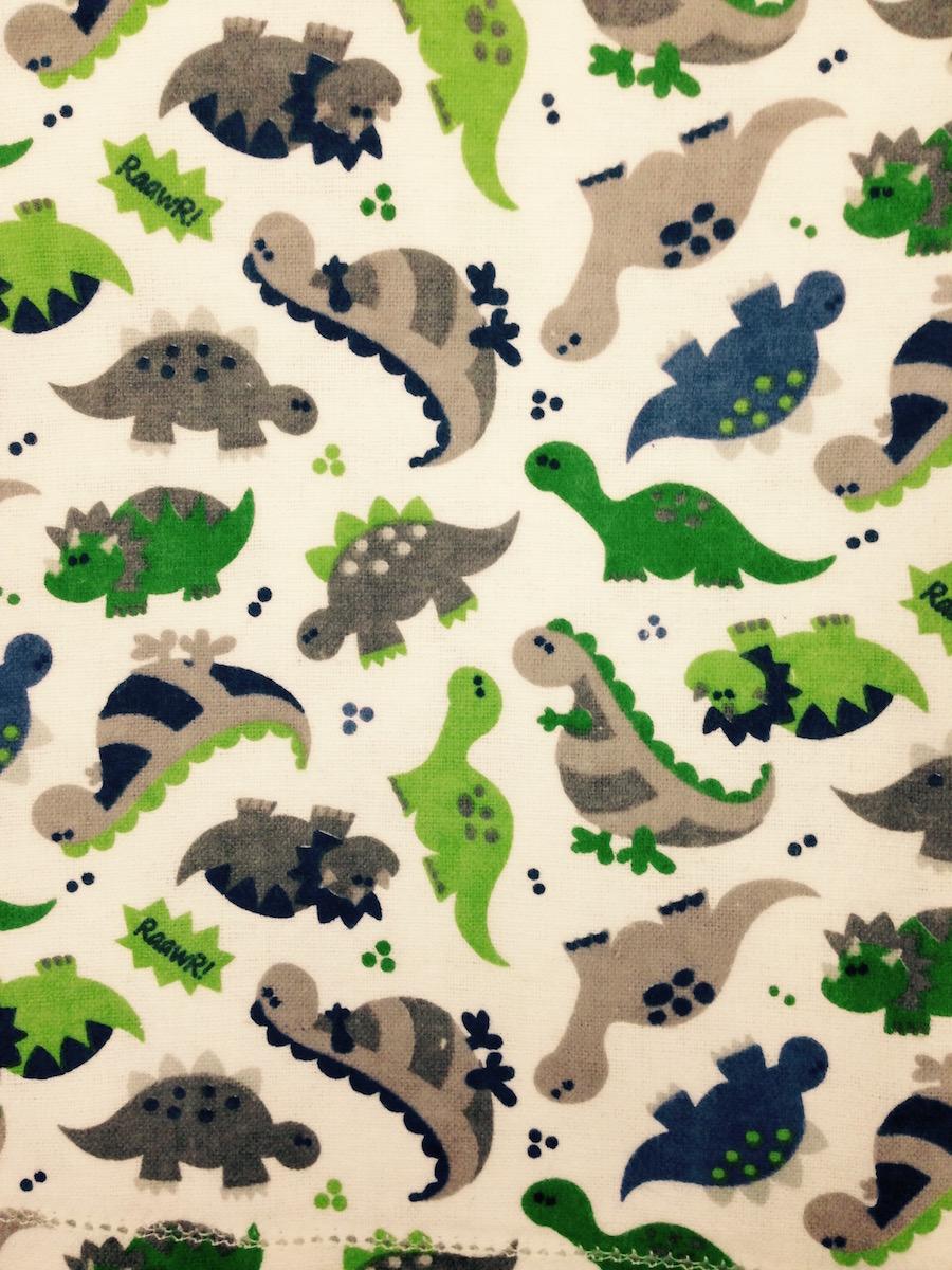 Dinosaur Hemstitched Flannel