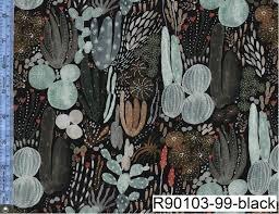 Desert Wilderness Rayon Black with Cactus R90097 99