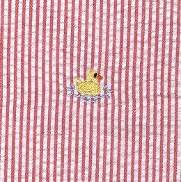 Duck on Red Stripe Seersucker