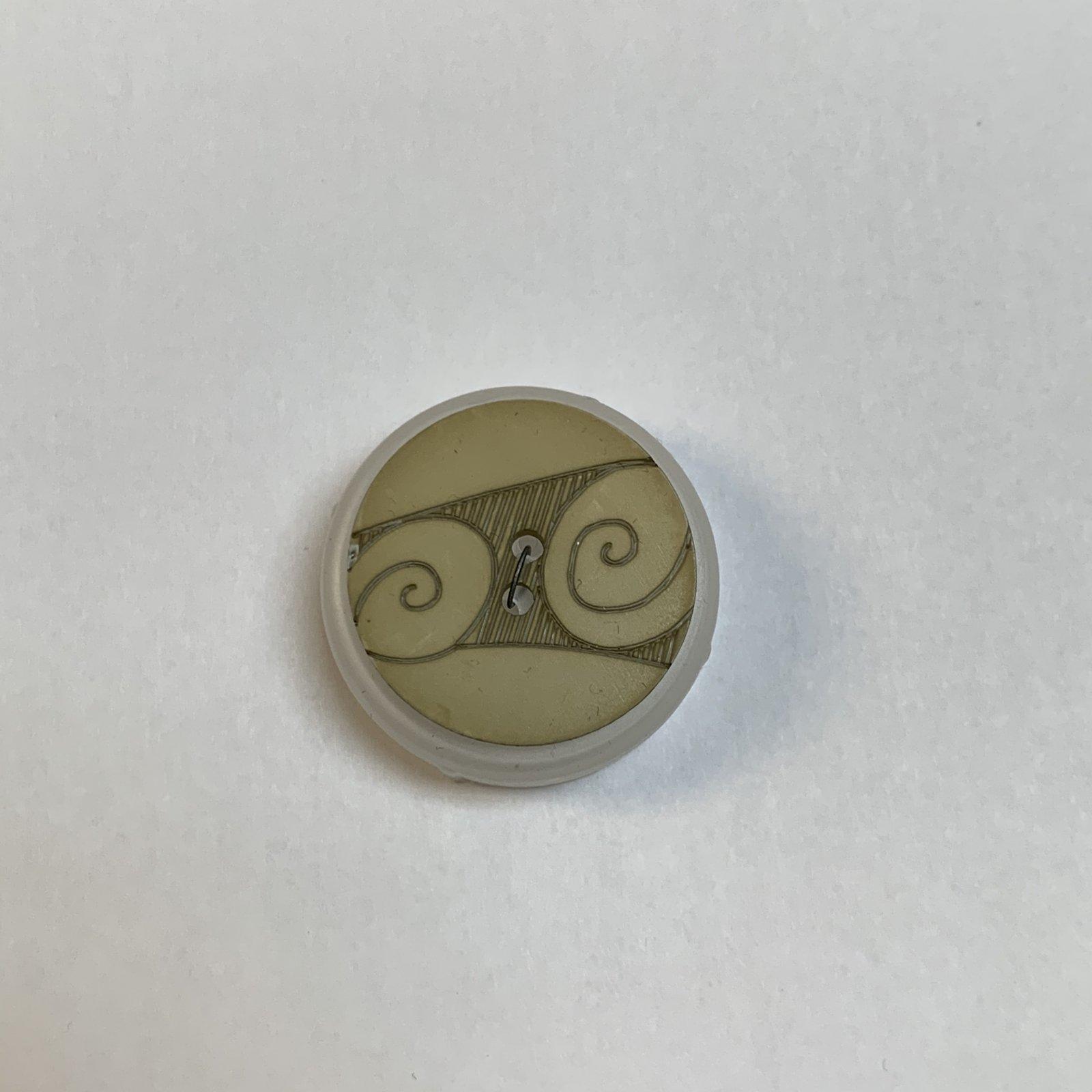 Tan Swirl Button 1 Inch