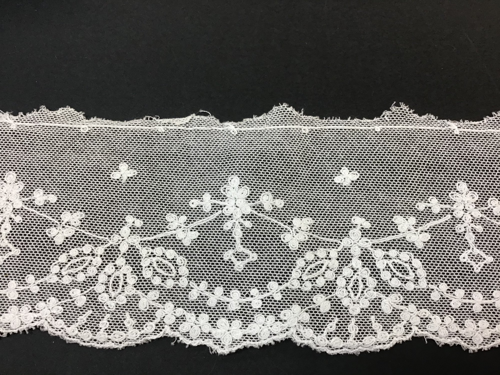 English Netting Lace Edging 3 inch Soft White NM1973-B
