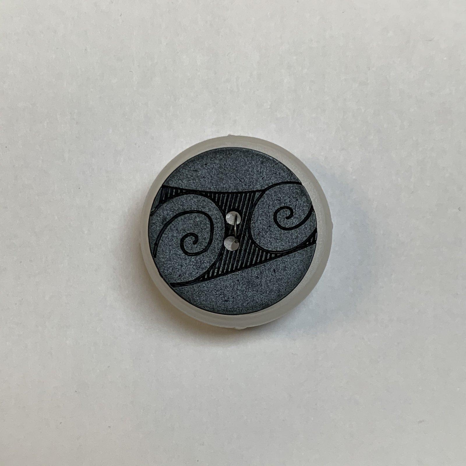 Black Swirl Button 1 Inch