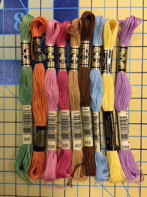 Bird Brain Easter Tea Towel Hand Embroidery Threads - Pastel