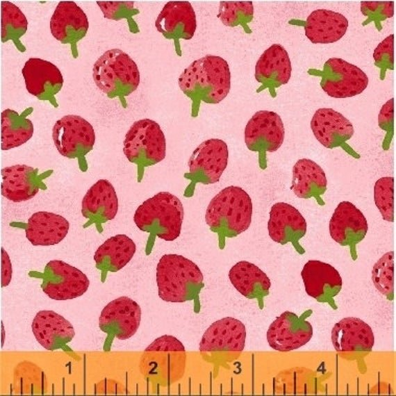 Flower Pedals Strawberries on Pink 41253-3