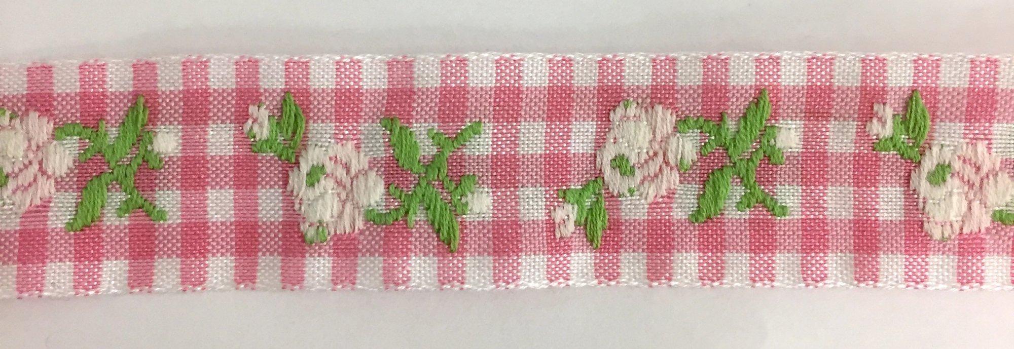 7/8 inch- Pink Gingham White Flower