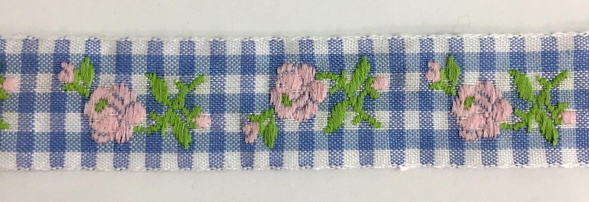 7/8 inch- Blue Gingham Pink Flower