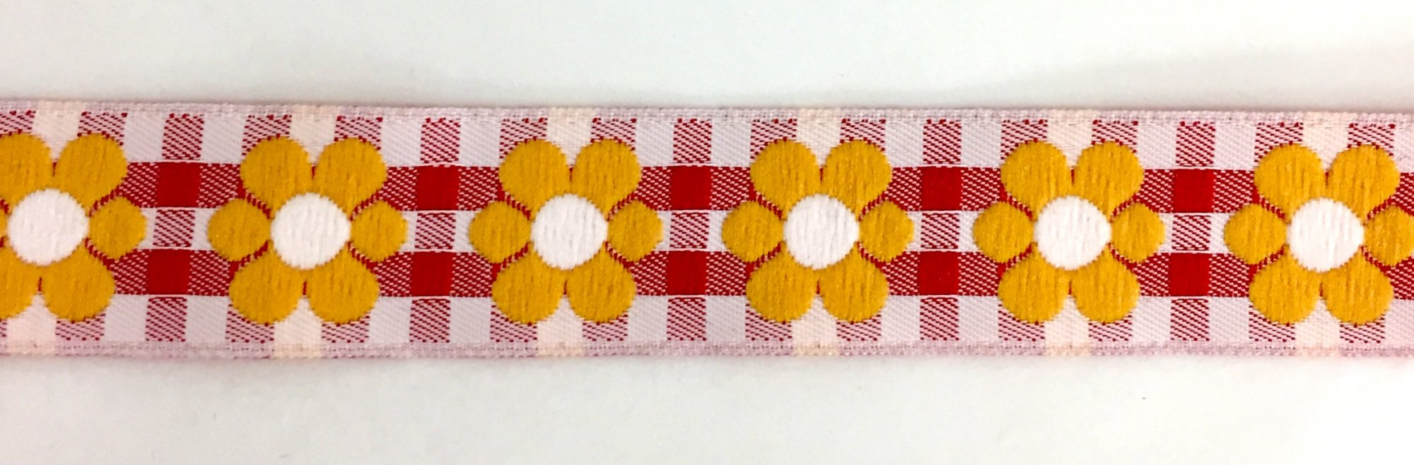 3/4 inch- Red Gingham Yellow Flowers