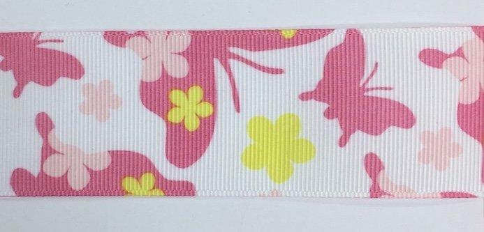 1.5 inch Pink Butterfly Grosgrain