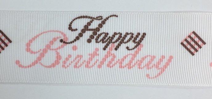 1.5 inch Happy Birthday Pink Grosgrain