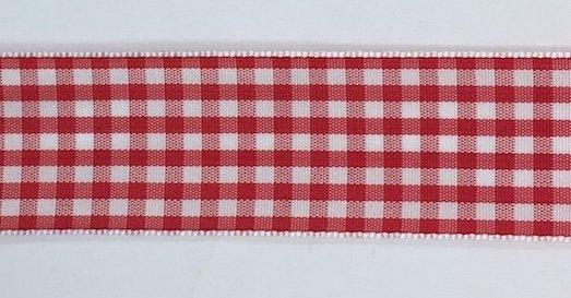1 inch Red Check Taffeta