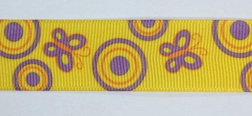 7/8 inch Yellow Butterfly Grosgrain