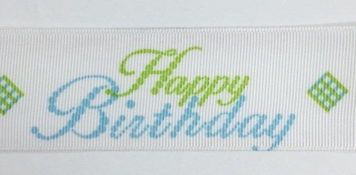 1.5 inch Happy Birthday Blue Grosgrain