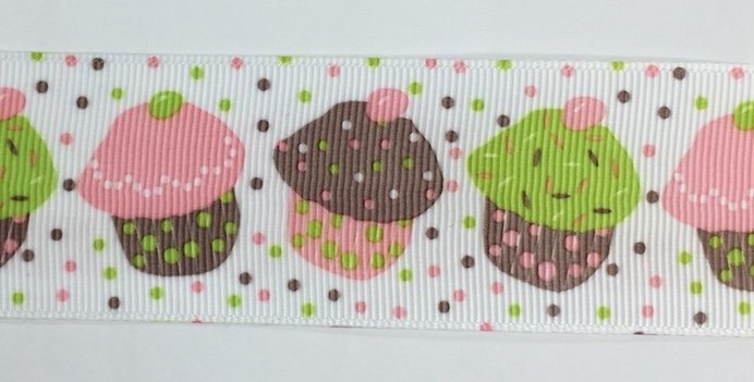 1.5 inch Pink and Green Cupcake Grosgrain
