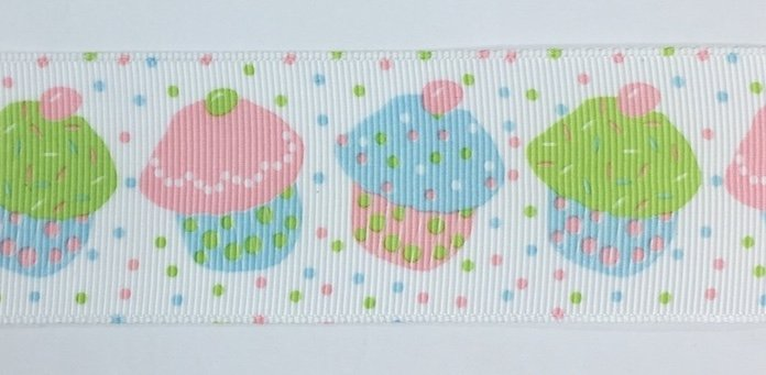 1.5 inch Pink and Blue Cupcake Grosgrain