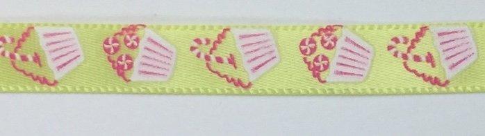 3/8 inch Peppermint Cupcake Satin Ribbon