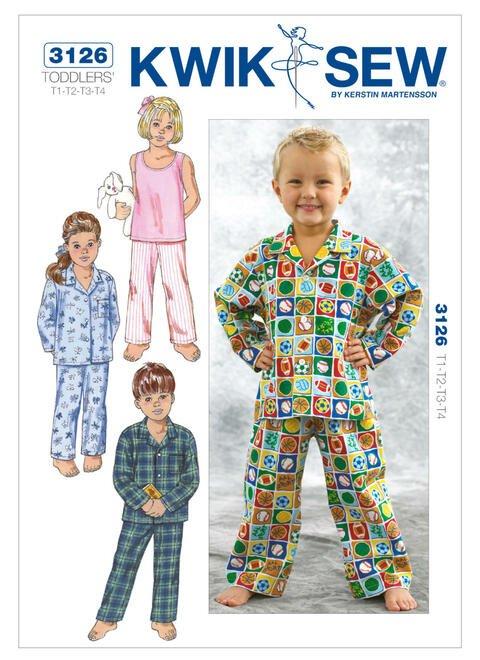 Kwik Sew K3126 Toddlers Sleepwear Pattern