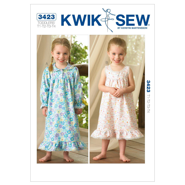 Kwik Sew K3423 Toddlers Nightgowns Pattern