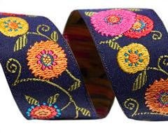 7/8 Inch Suzani Flowers Ribbon