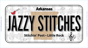 Row by Row License Plate 2018 Jazzy Stitches