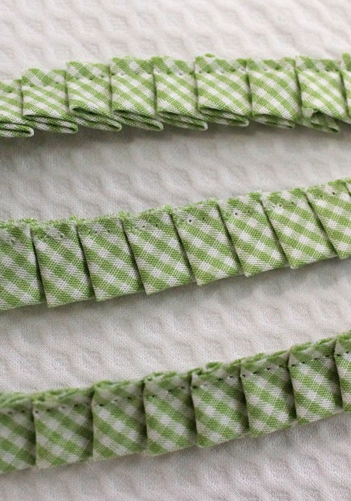Knife Pleated Fabric Ruffle Trim Lime Gingham