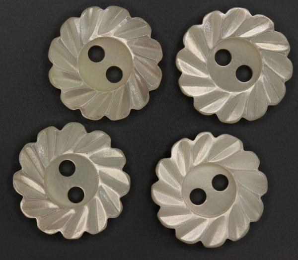 MOP Antique Flower Button