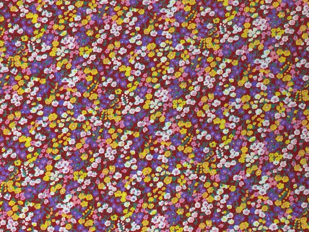 Pima Cotton Lawn Multi Floral on Red