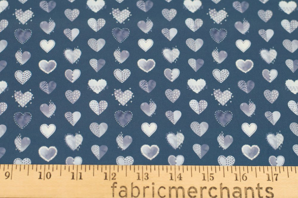 Double Brushed Poly Jersey Knit Small My Boro Heart Navy and White 51-10469-15B