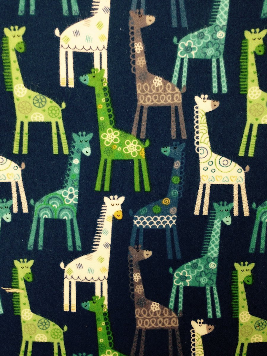 Giraffes on Blue Hemstitched Flannel