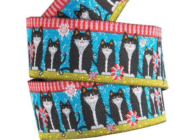 7/8 Inch Black Cats on Blue Odile Bailloeul Ribbon