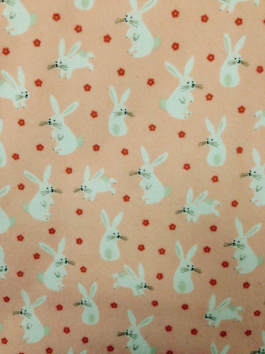 Bunnies on Peach Hemstitched Flannel