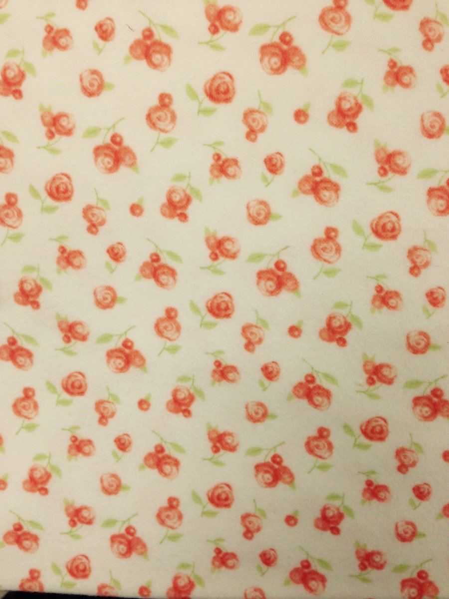 Peach Rosebuds on White Hemstitched Flannel
