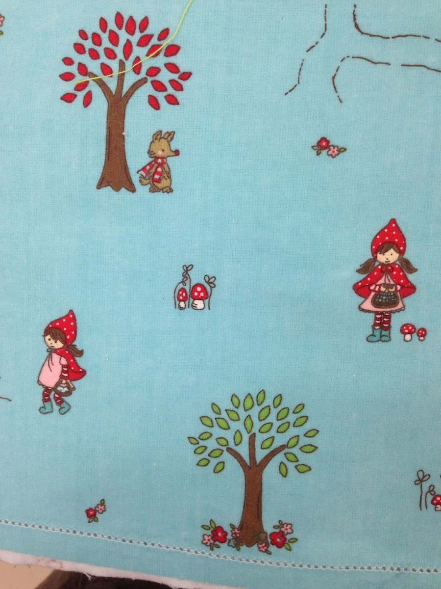 Little Red Riding Hood in Aqua hemstitched flannel
