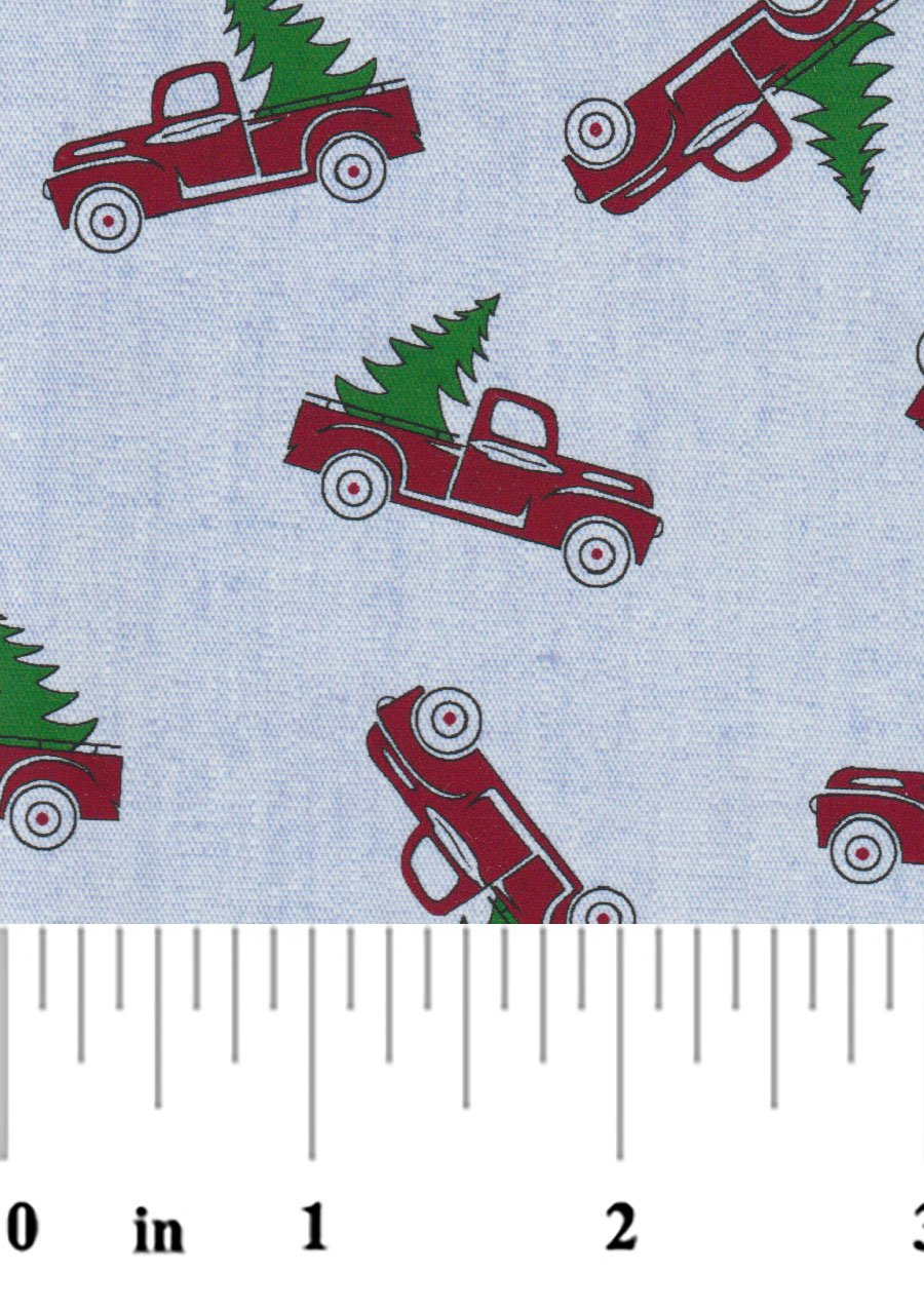 Red Truck with Christmas Tree on Blue Chambray