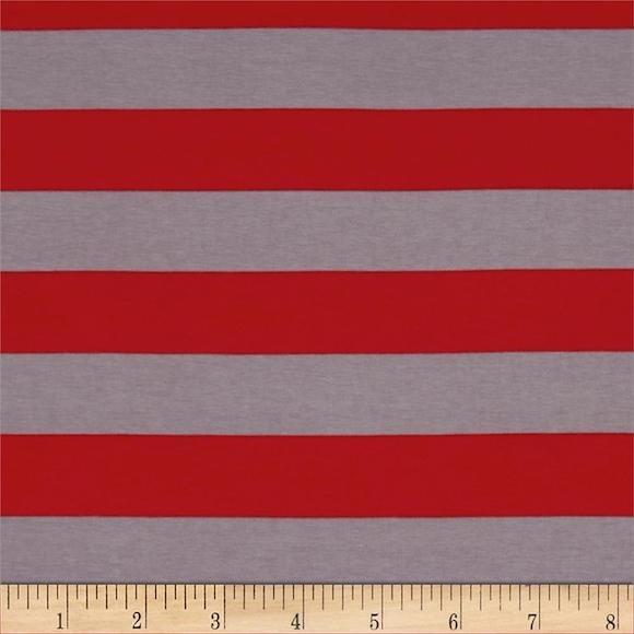 Red & Grey Stripe Knit