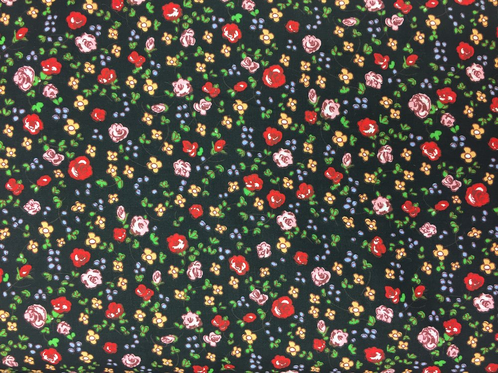 Pima Cotton Lawn Roses on Black