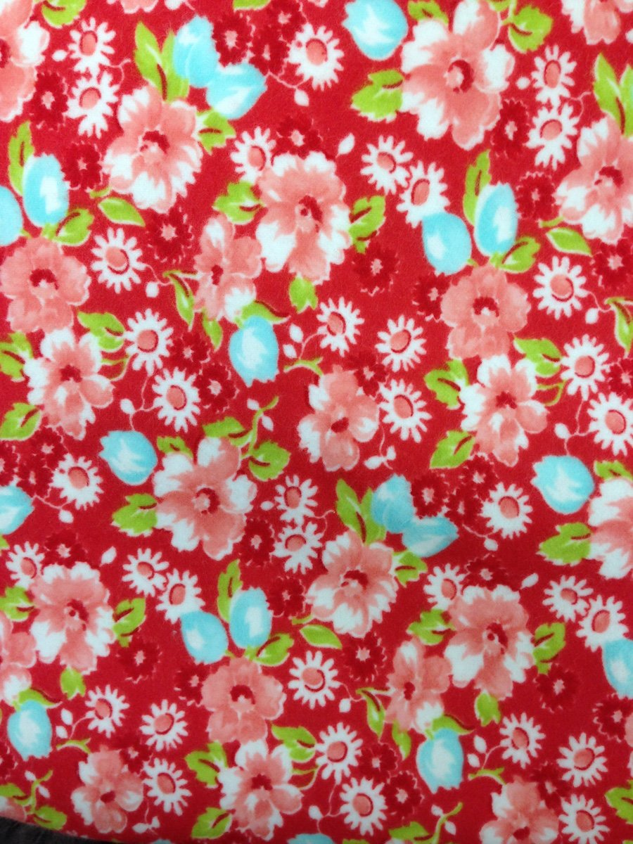 Flowers on Red Hemstitched Flannel