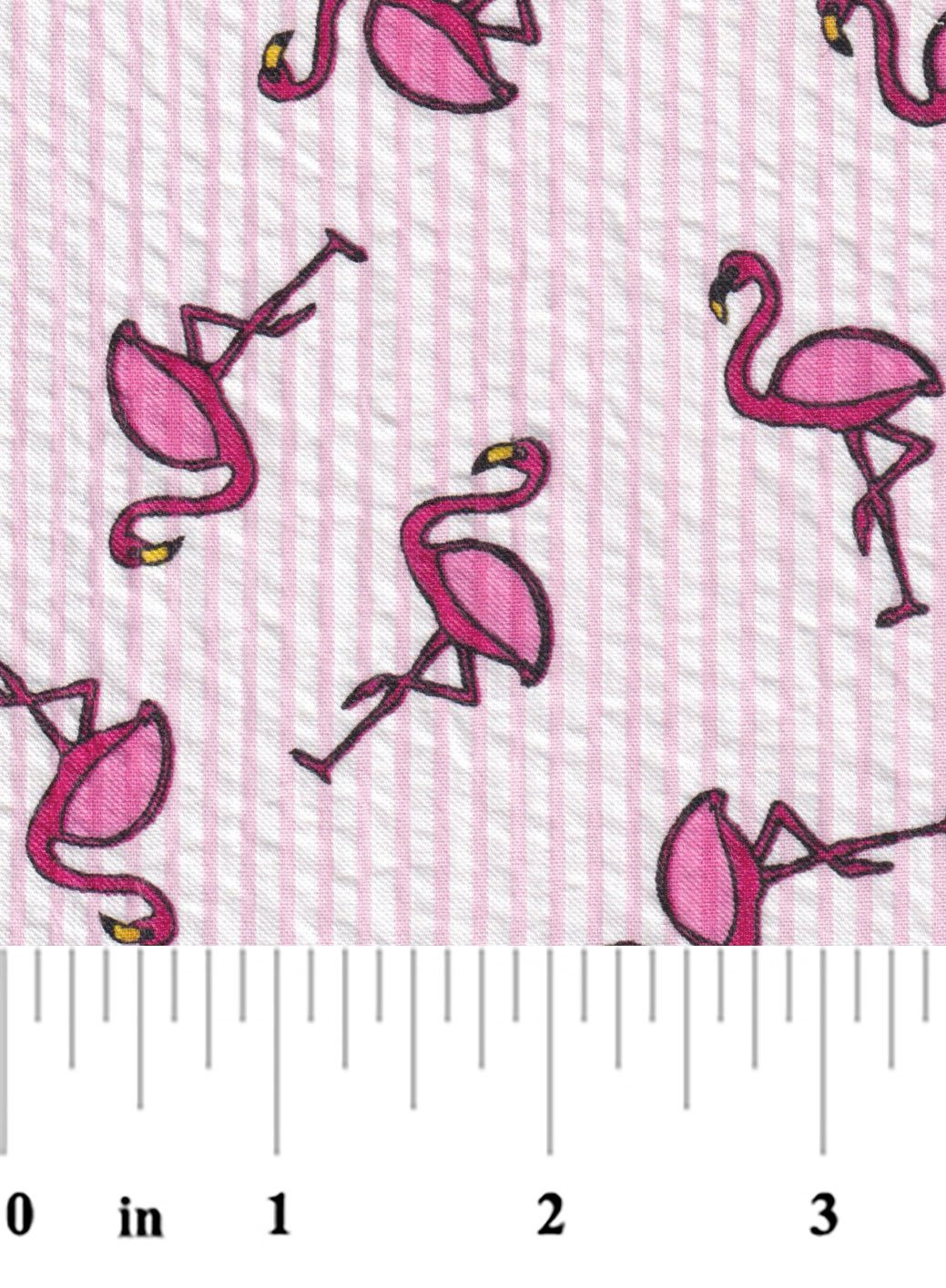 Hot Pink Flamingos on Pink Seersucker S107