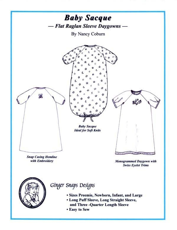 Baby Sacque Flat Raglan Sleeve Daygowns