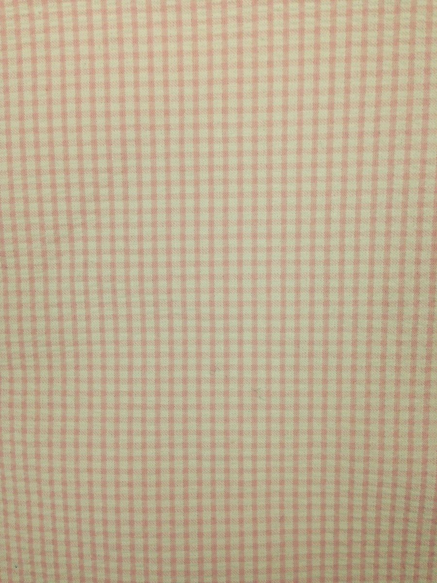 Pink Small Windowpane Hemstitched Seersucker
