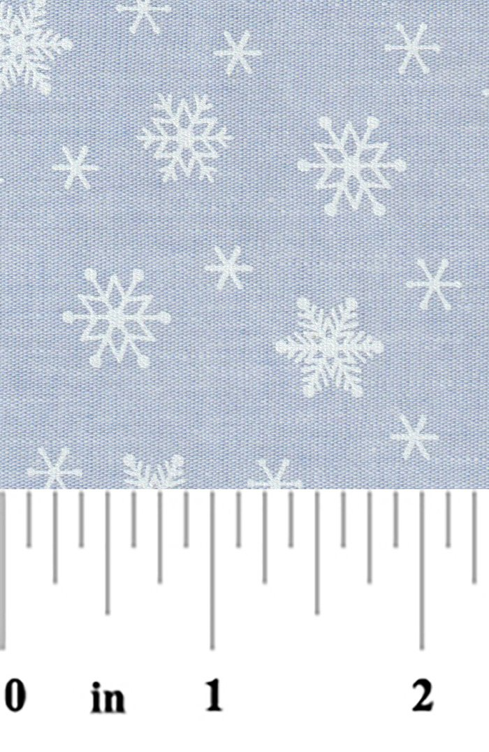 Blue chambray with snowflakes
