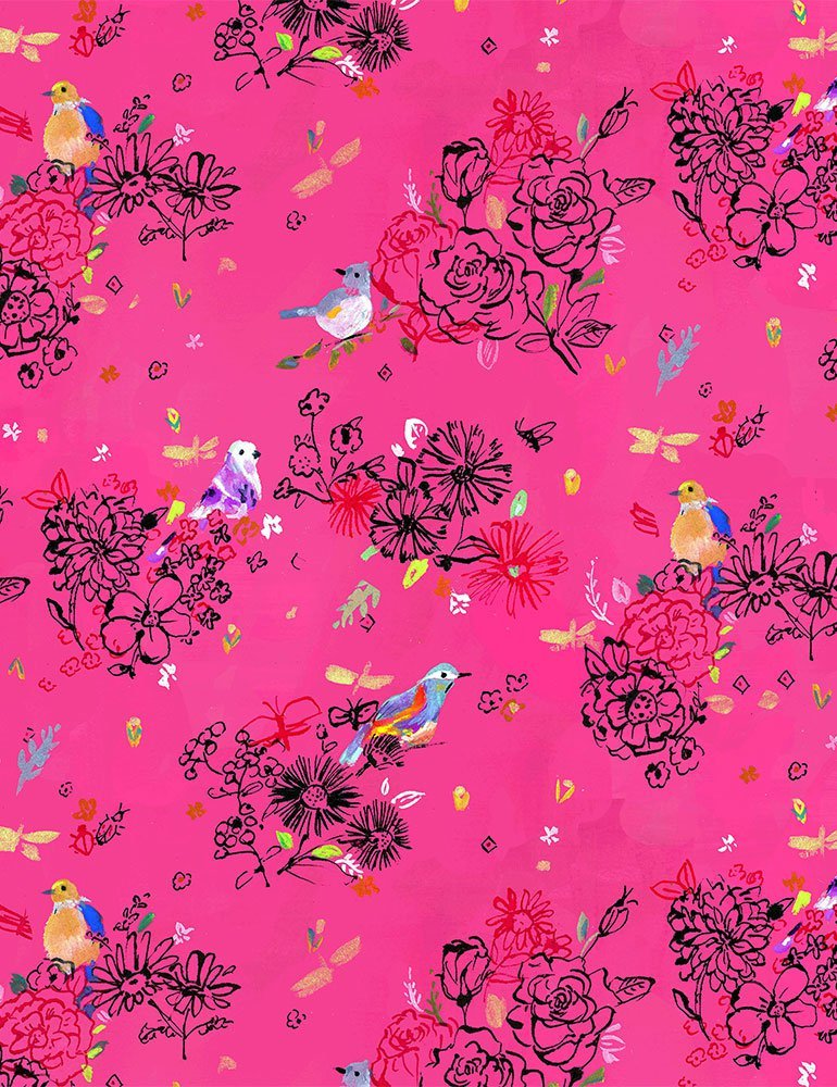 Tree of Life Bird Floral Pink DJL1753