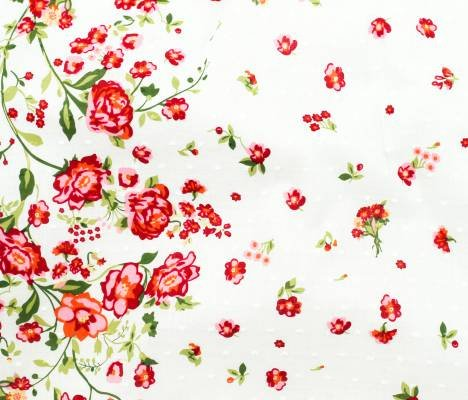 Telio Fabrics Swiss Dot Print Roses on White 41160