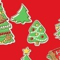 Storybook Christmas Red with Trees 41751