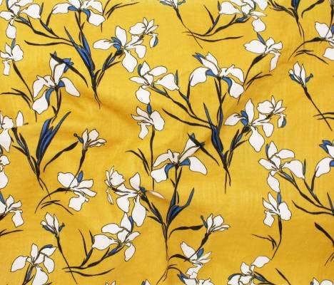 Telio Fabrics Verona Voile Print in Mustard 69043