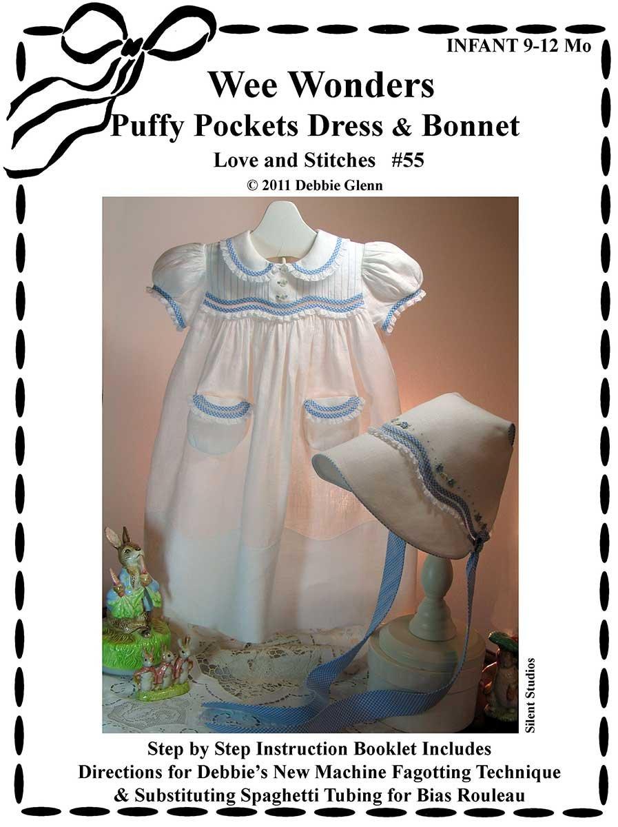 Wee Wonders Puffy Pocket Dress& Bonnet